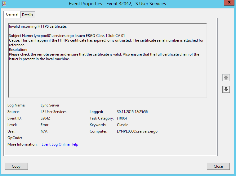 LS User Services – Invalid Incoming HTTPS Certificate – The